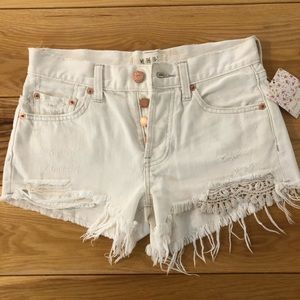 We The Free Womens Lace Distressed Denim Shorts